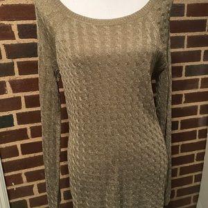 Jones New York Cable Sweater Long Sz L Metallic